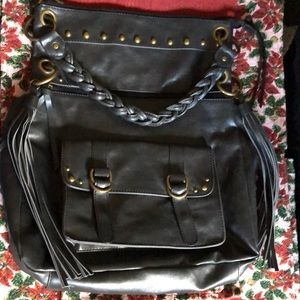 BCBGeneration Leather Shoulder Bag Black
